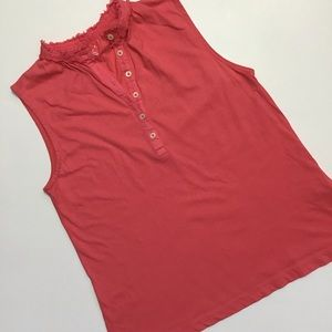 Lands' End   Coral Raw Edge Tank Top